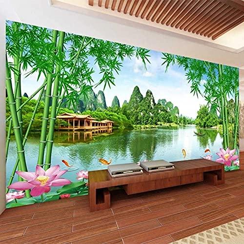 3D Fotomurales No Tejido Mural Loto Del Bosque De Bambú Salón Dormitorio Despacho Pasillo Decoración Murales Decoración De Paredes Moderna 200X150cm