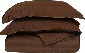 عدد الخيوط 530، 100% قطن ممشط ممتاز، طبقة واحدة، مجموعة غطاء لحاف King / California King، بلون الشوكولاتة.