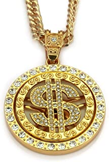 Gold Chain for Men with Dollar Sign Pendant Necklace with Drill (Gold)