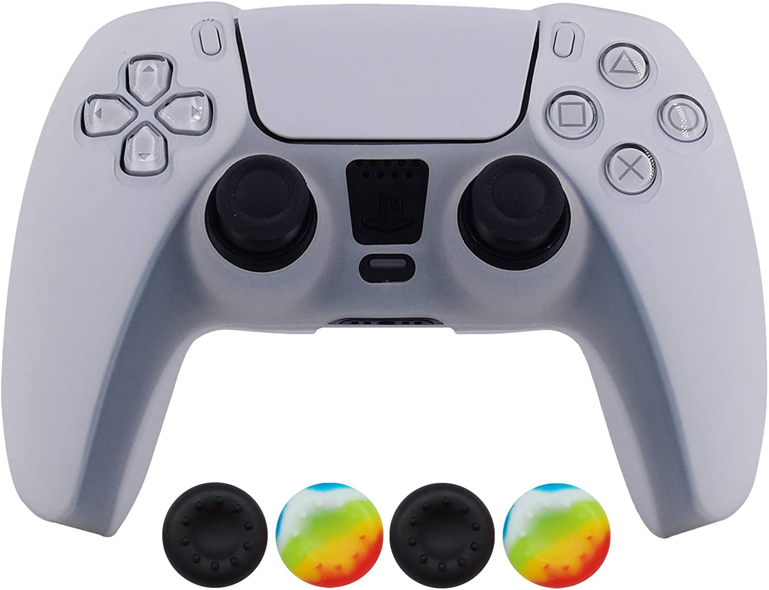 PS5 Controller Skin,Hikfly Silicone Cover for Sony PlayStation5 Controller Grip Skin Protector Faceplates Kits Video Games(1x White Cover with 4 x Thumb Grips Caps)