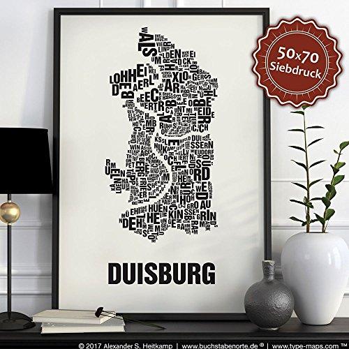 Duisburg Buchstabenort Schwarz auf Naturweiß