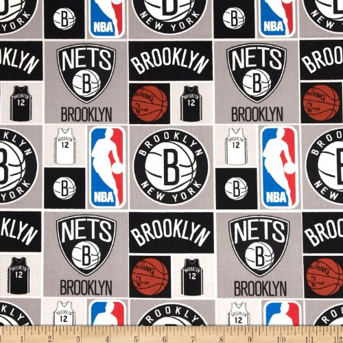 Camelot Fabrics 0274576 NBA Cotton Broadcloth Brooklyn Nets Multi Fabric by The Yard, Multicolor