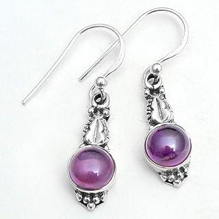 Orecchini pendenti piccoli in argento sterling con pietre preziose ametiste per donne e ragazze, orecchini con castone per...