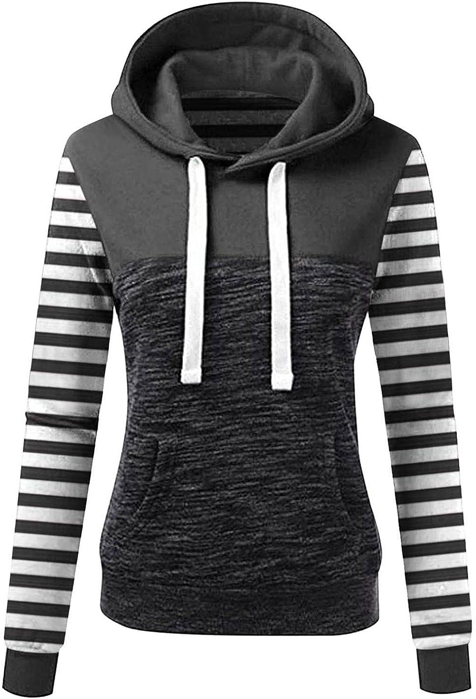 NEEKEY Womens Fashion Long Sleeve Drawstring Hoodie Striped Print Casual Sweatshirt with Pocket