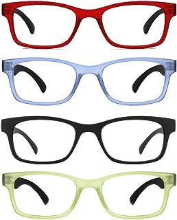 0590ddaf46521 TIJN 4 Packs Screwless Comfort Reading Glasses Fashion Readers Eyeglasses  for Reading Men Women