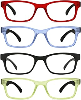 TIJN 4 Packs Screwless Comfort Reading Glasses Fashion Readers Eyeglasses for Reading Men Women