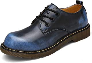 PengCheng Pang Fashionable Oxfords for Men Work Shoes Casual OX Leather Lace-up Low Top Round Toe (Color : Blue, Size : 7.5 UK)
