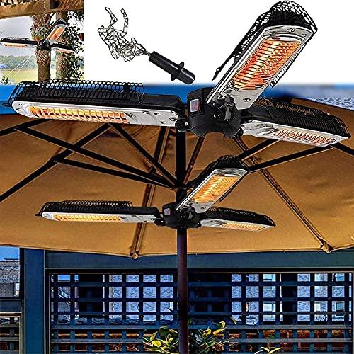 WXking Calentador de Paraguas eléctrico IP34 a Prueba de Agua 3 Paneles de Calentamiento con Cadena para PERGOLA Parasol GARDING