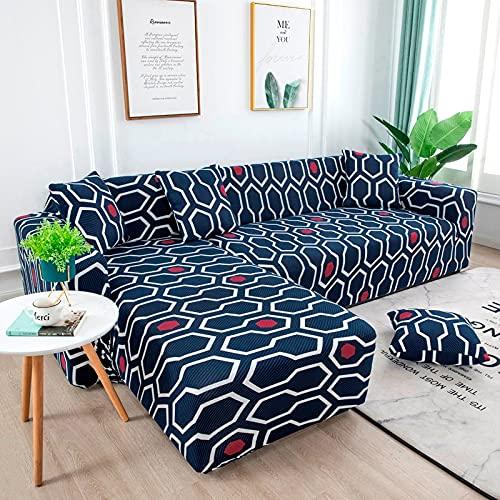 Juego de Fundas elásticas para sofá Fundas de sofá seccionales con Estampado de Hojas pastorales Decorativas Protector de sofá en Forma de L Abrigo Todo Incluido A9 1 Plaza