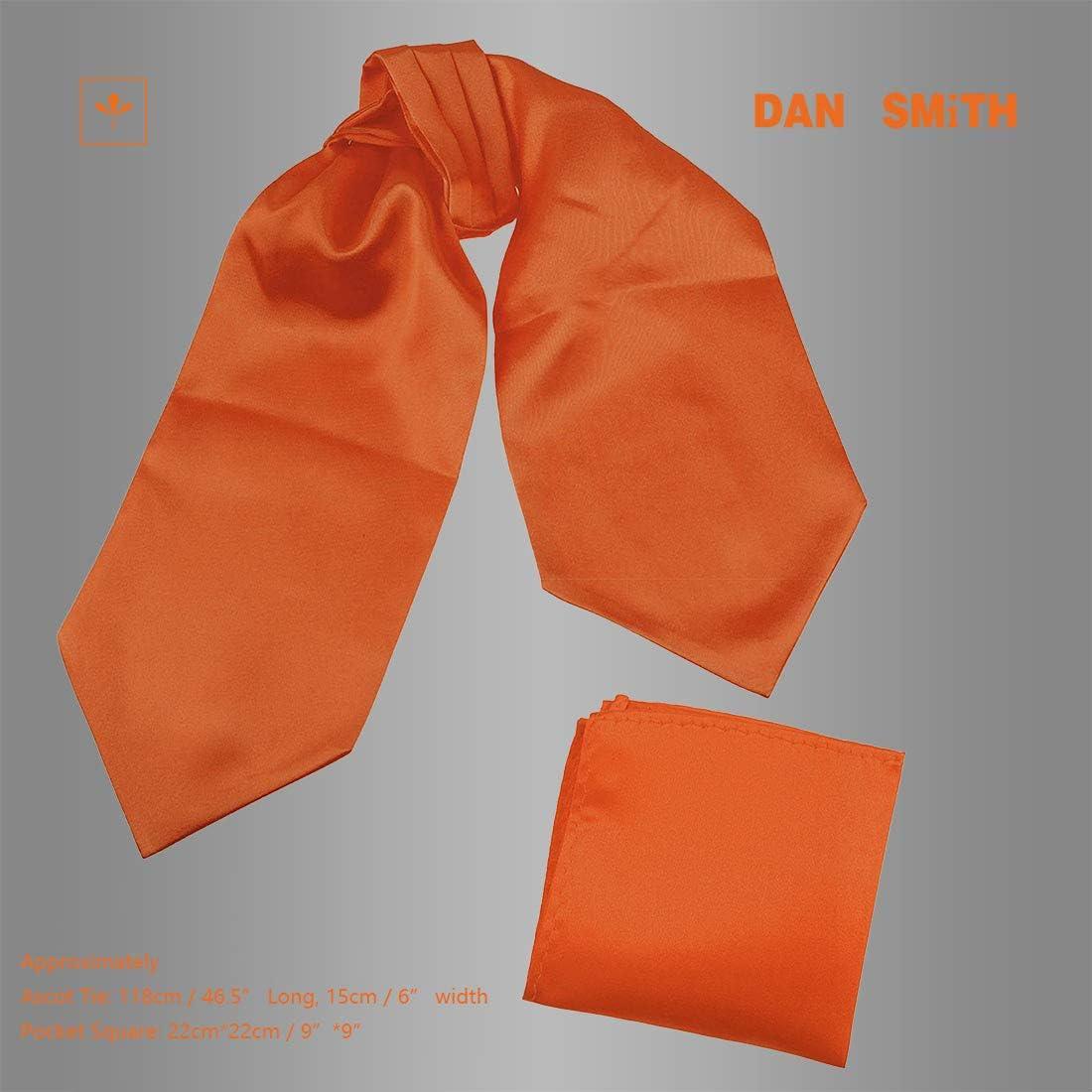 Dan Smith Men's Fashion Multiple Solid Microfiber Evening Ascot Handkerchief With Bags