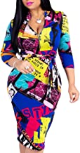 Women's Sexy V-Neck Floral Dresses Casual Slim Fit Bodycon Juniors Dress Club Outfits
