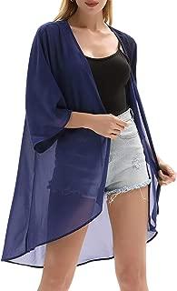 Women's Chiffon Loose Kimono Cardigan Swimsuit Cover UPS Plus Size