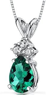 14 Karat White Gold Pear Shape 0.50 Carats Created Emerald Diamond Pendant