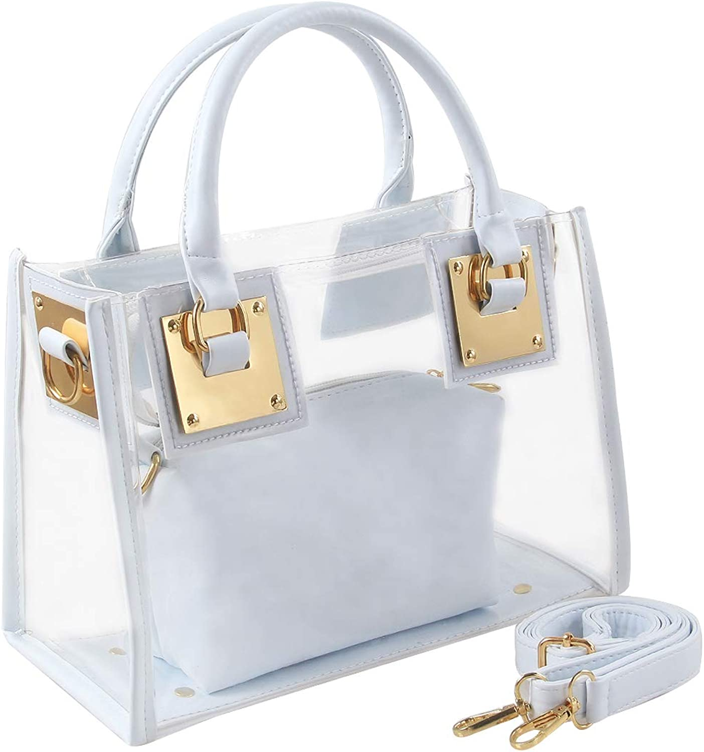 YellowPin Women's 2in1 Transparent Zip clousre crossbody shoulder bag with cluth