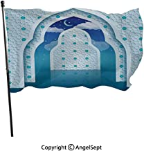 AngelSept Polyester Garden Flag House Banner,Arabic Quote Textured Mosque Arch Door with Cloudy Star Sky Night Backdrop Print Navy Blue,3x5 ft,Decoration Flag for Wedding Party Home
