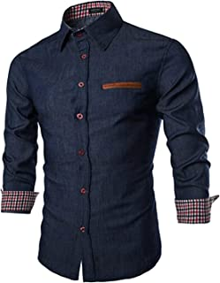 Men's Casual Dress Shirt Button Down Shirts Long-Sleeve Denim Work Shirt
