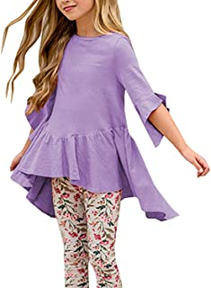 Caitefaso Girls Cute Shirts Summer Fall Ruffle Tunic Tops 3/4 Sleeve High Low Slim Blouses Tee 3-9 T