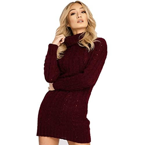 1fcc05c3dce Red Olives New Womens High Polo Neck Chunky Cable Knitted Jumper Mini Tunic  Dress Top 8