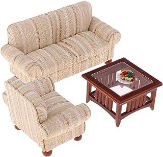 KESOTO 3点入り テーブル ソファ チェア 果物トイレ模型 1/12ドールハウス家具 飾り