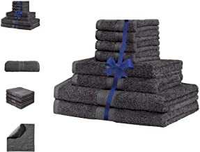 River Flow 8 Piece Towel Set Terry 100% Cotton Extra Absorbent Soft Luxurious (Charcoal)