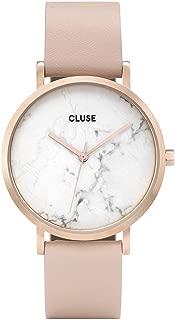 CLUSE La Roche Rose Gold White Marble CL40009 Women's Watch 38mm Leather Strap Minimalistic Design Casual Dress Japanese Quartz Elegant Timepiece