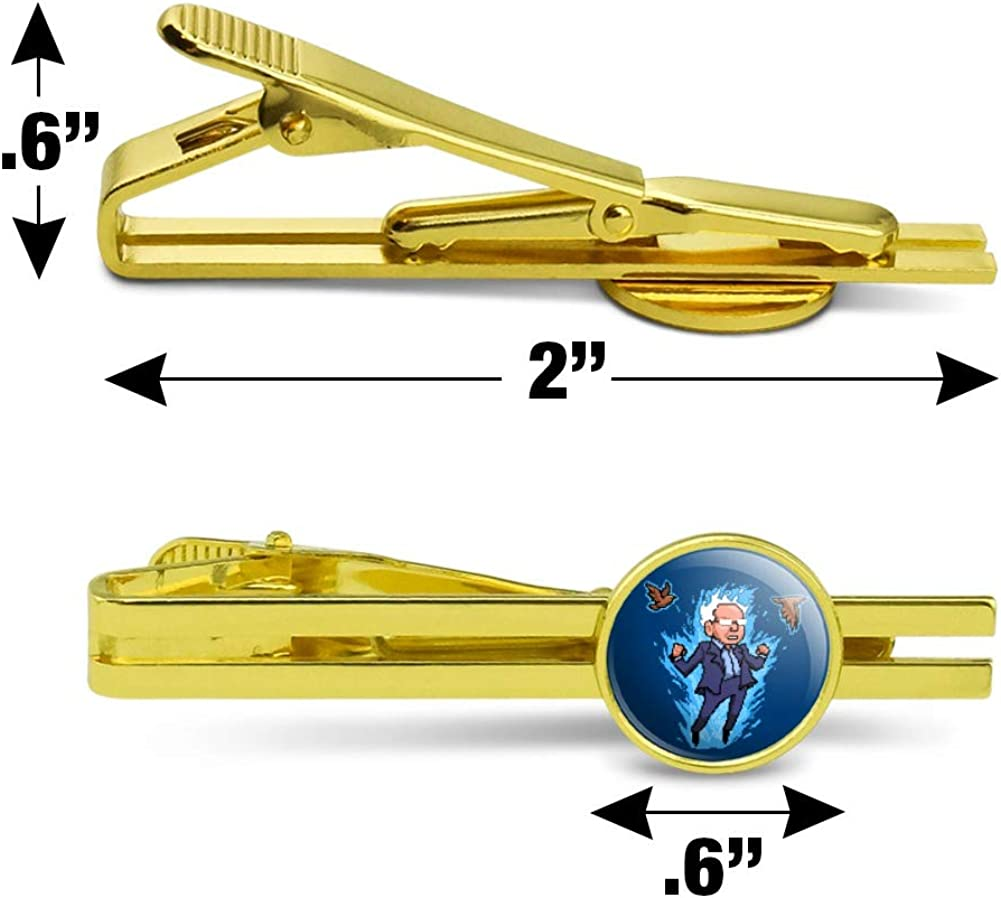 GRAPHICS & MORE Pixel Super Bernie Sanders with Birds and Fire Round Tie Bar Clip Clasp Tack Gold Color Plated