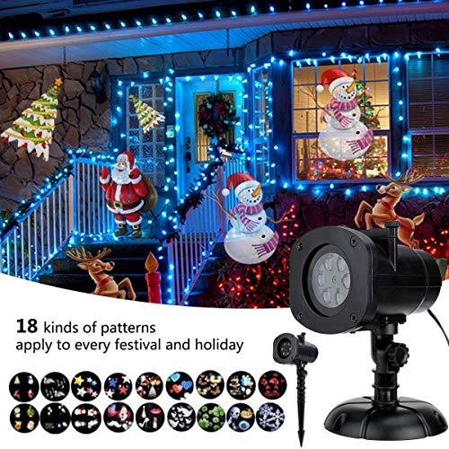 Projektor Lichter 18 Muster Gobos Garten Lampe Beleuchtung Wasserdicht funkelnden Landschaft Projektionslicht für Dekoration Beleuchtung für Weihnachten Halloween Urlaub Party (Film - projektor 18)