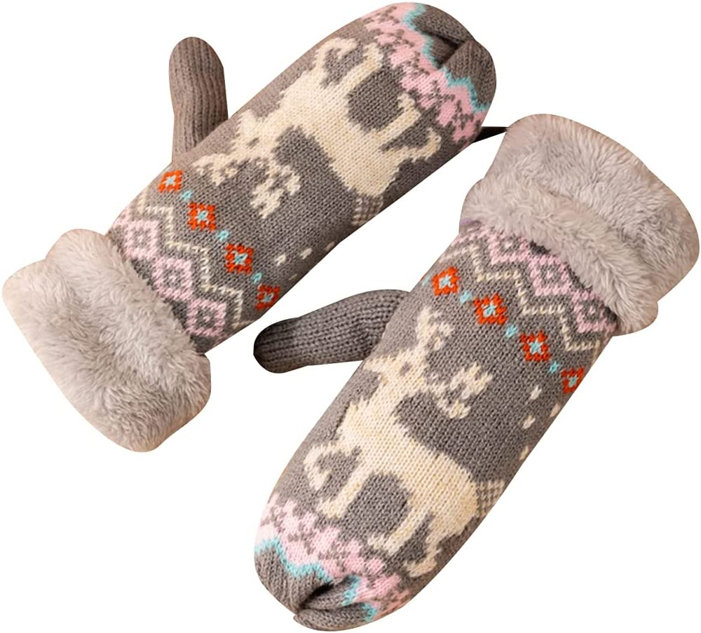 Lnrueg Women Knit Mittens Protective Hanging Warm Mittens Winter Gloves with Lanyard for Christmas Holiday Home School