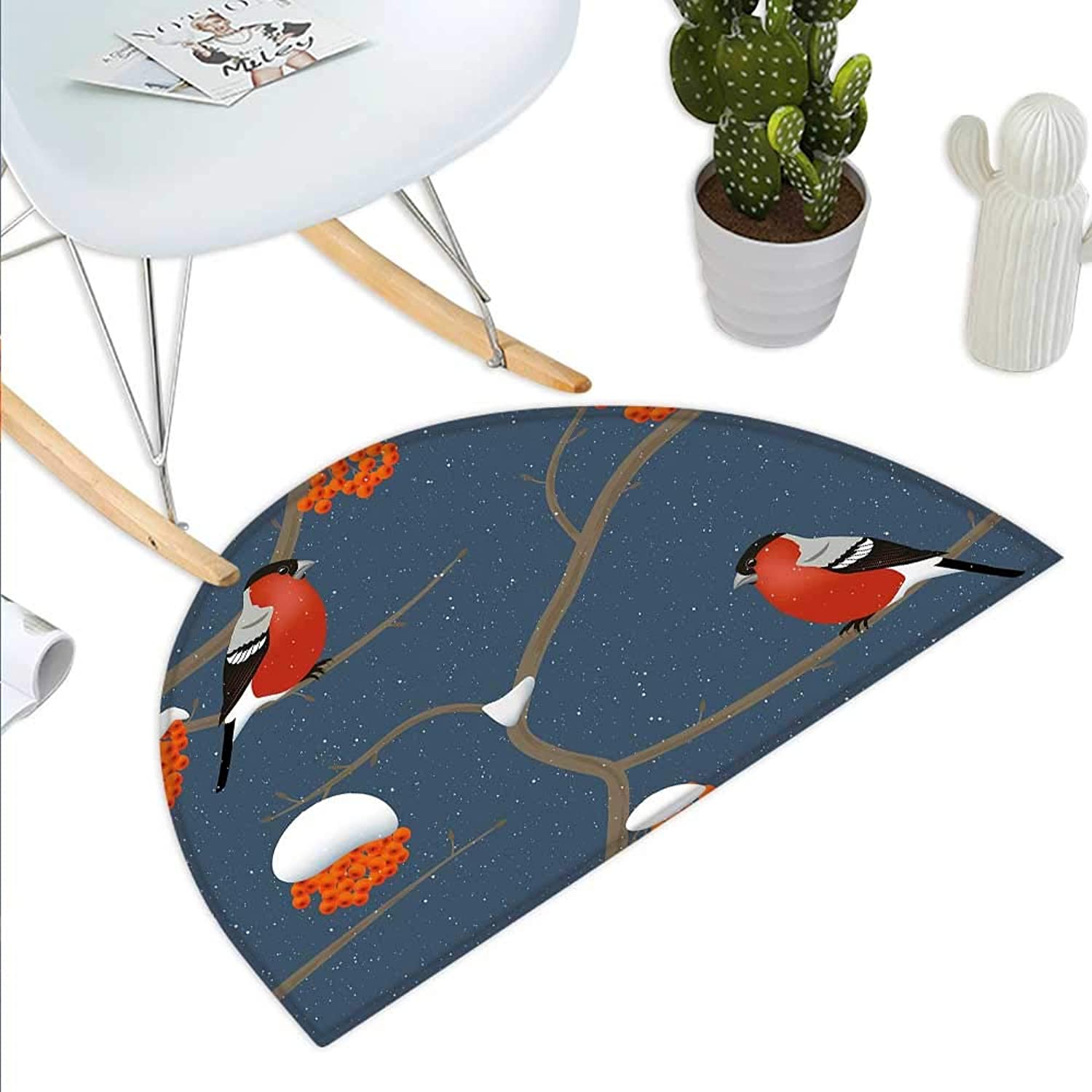 Rowan Semicircle Doormat Winter Pattern with Snowy Tree Branches orange Berries and Bullfinch Birds Halfmoon doormats H 35.4  xD 53.1  Dark bluee orange Red