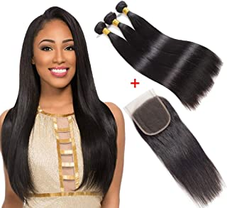 FBHAIR Straight Human Hair 3 Bundles With Lace Closure 100% Unprocessed Virgin Straight Bundles With Lace Free Part Closure Hair Extensions Natural Color(10