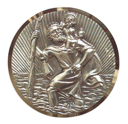 Plakette St. Christophorus, selbstklebend, Goldrahmen, rund