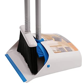 TreeLen Long Handle Broom and Dustpan Set,Upright Dust Pan Combo for Home, Kitchen, Room, Office, Lobby Floor Use Without Bending