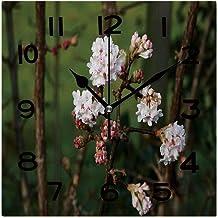 ALUONI Square Wall Clock Viburnum Bodnantense 8 inch Morden Wall Clocks Silent Square Decorative Clock No036678