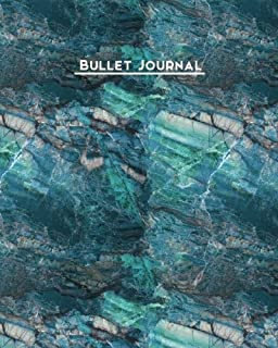 Bullet Journal: Blue Agate Dot Grid Notebook Geode Design Blank Notebook, 1/4 inch Dot Grid with 160 Pages, Sturdy Matte Softcover Dotted Paper