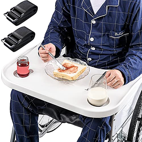 Wheelchair Lap Tray with Two Cup Holders - 4 Pieces Tray Straps, Wheelchair Accessories, Professional Wheelchair Tray Table for Manual Wheelchair, Power Wheelchair