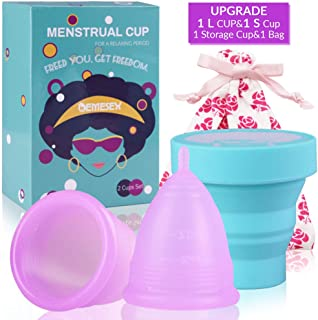 Menstrual Cups 2Set of Large&Small for Heavy&Normal Flow Soft and Reusable Period Cup FDA Approved Medical Grade Silicon Tampons and Pads Alternative Purple