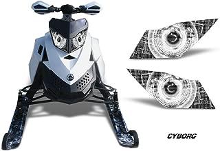 AMR Racing Sled Headlight Eye Graphic Decal Cover for Ski Doo Rev XP Summit - Cyborg White