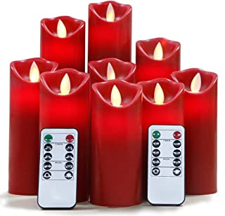 Flameless Candles Flickering Light Pillar Real Smooth Wax with Timer and 10-Key Remote for Wedding,Votive,Yoga and Decoration(Set of 9) (redred)