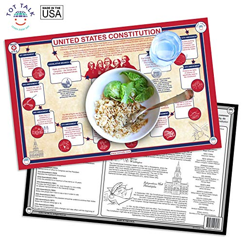 Tot Talk U.S. Constitution Educational Placemat for Kids, Washable and Long-Lasting 11', Double-Sided, Made in The USA