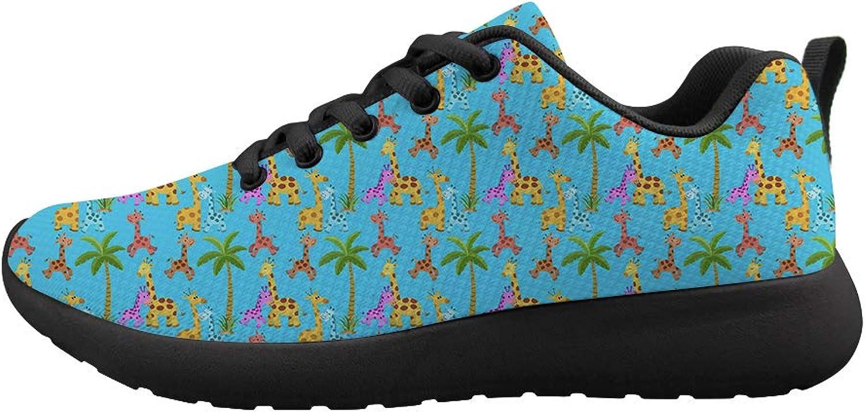 Owaheson Cushioning Sneaker Trail Running shoes Mens Womens Palm Tree colorful Happy Giraffe