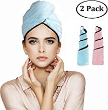 Orthland Magic Instant Dry Rapid Drying Microfiber Hair Towel Wraps for Women [2 Pack] Anti-frizz Quick Fast Dry Head Turban for Long Thick & Curly Hair, Super Absorbent & Never Falls Off