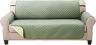 Deluxe Original Reversible Couch Slipcover Furniture Protector, Seat Sofa, Chair, Loveseat Quilted, Anti-Slip 2 Inch Strap, Machine Washable, Slip Cover Throw for Pets, Dogs, Cats, Kids - Olive/Sage