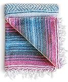 Mexican Blanket, Falsa Blanket | Authentic Hand Woven Blanket, Serape, Yoga Blanket | Perfect Beach Blanket,...