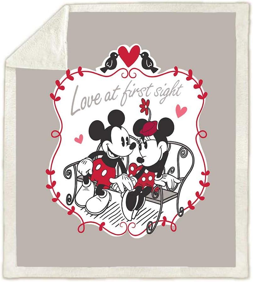 ropa de cama de dibujos animados para sof/á de cama 100/% microfibra HLSM Manta de forro polar suave y c/álida para ni/ños dise/ño de Mickey y Minnie Mouse de Disney para pareja A01 130X150CM