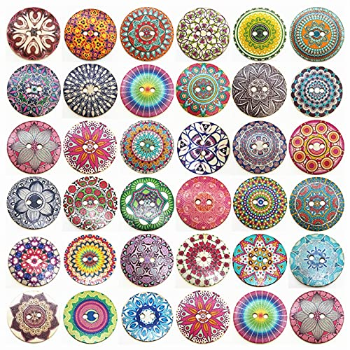 10/20Pcs/Pack Mixed Random Flower Painting Vintage Round 2 Holes Wood Wooden Buttons for Sewing Crafting 50mm Big for DIY Sewing-10Pcs,c