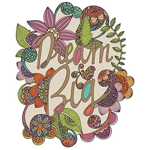 My Wonderful Walls Dream Big Flower and Text Art - Adhesivo decorativo para pared, diseño de flores y texto de Valentina Harper, tamaño mediano, multicolor por MyWonderfulWalls