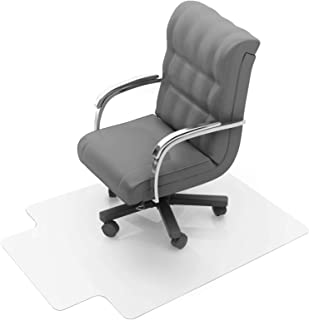 """Floortex Polycarbonate Chair Mat with Lip 47"""" x 35"""" for Low/Medium Pile Carpets"""