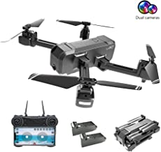 $93 » Drones with Camera for Adults 1080P, EMISK WiFi FPV Quadcopter Drone with Dual Cameras, RC Foldable Drones with HD Camera for Beginner, Altitude Hold, Follow Me, One Key Take Off/Landing, APP Control