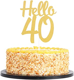 QIYNAO Gold Glitter Hello 40 Cake Topper Cheers To Years Dirty Forty