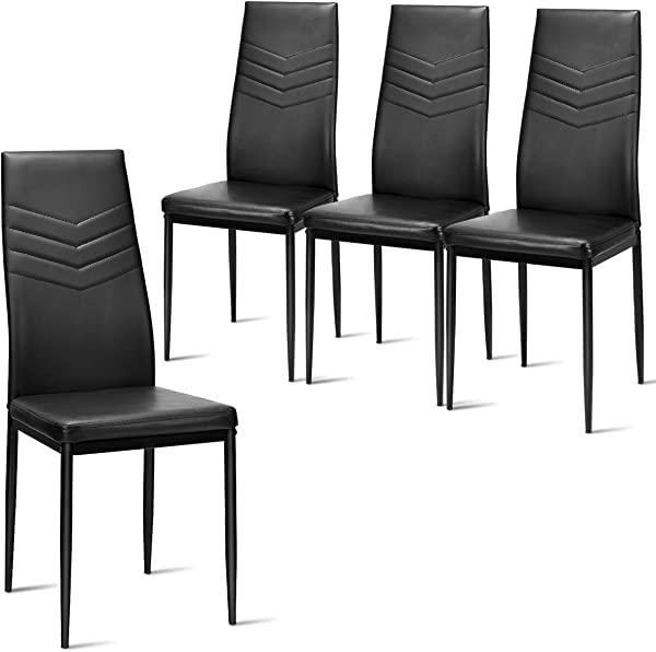 Giantex Set Of 4 Dining Chairs Black With High Back Upholstered Cushion Sturdy Metal Frame Powder Coated Tube Legs PVC Leather Soft Light Modern Leisure Home Kitchen Living Room Bed Black